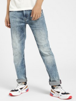 Flying Machine Distressed Acid Wash Slim Jeans
