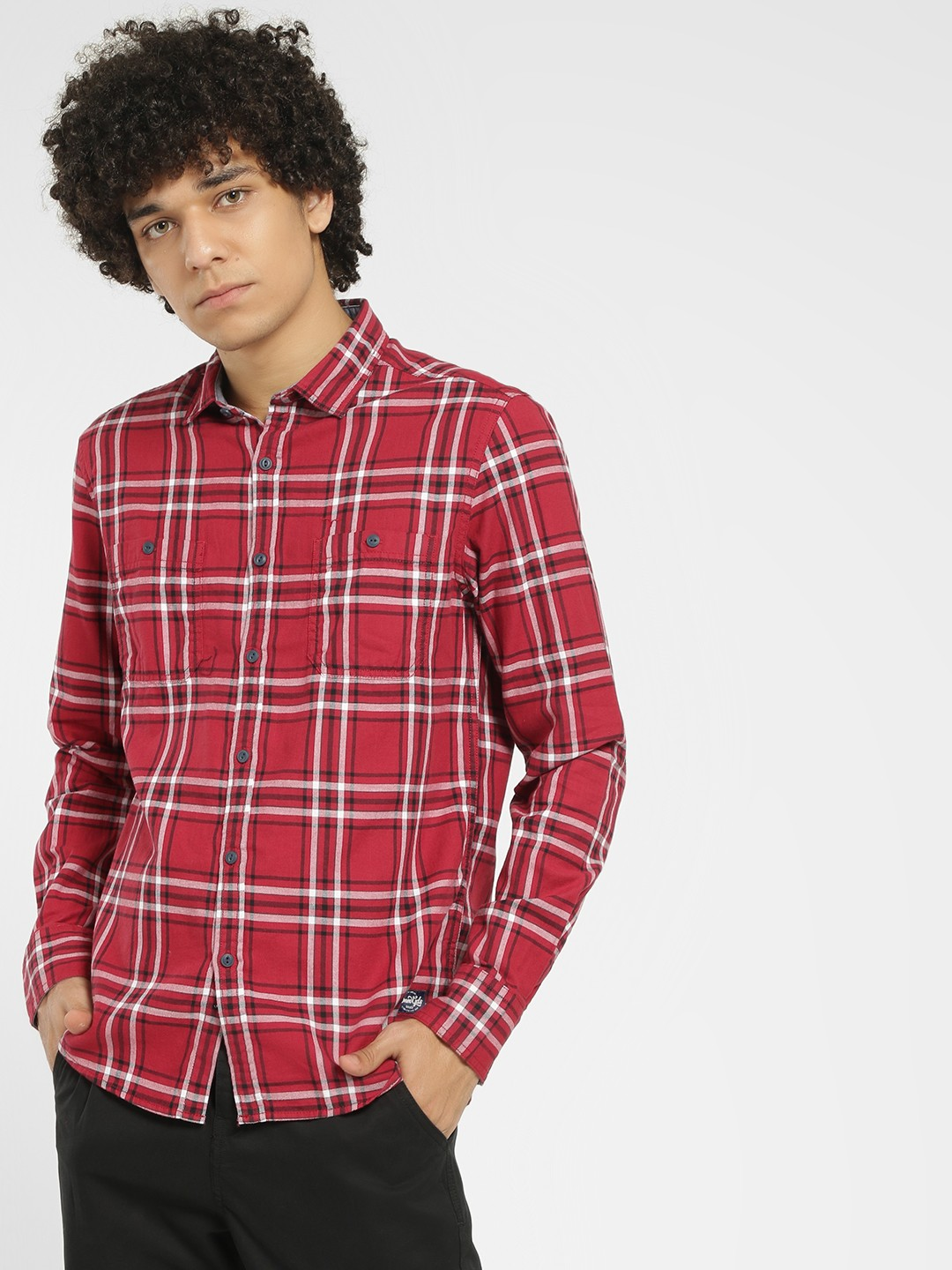 Flying Machine Red Tartan Check Casual Shirt 1