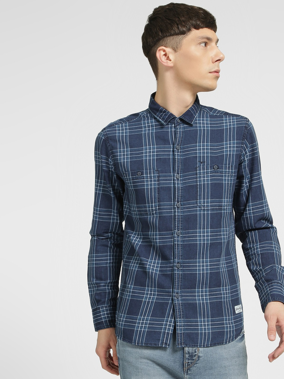 Flying Machine Blue Multi Check Casual Shirt 1