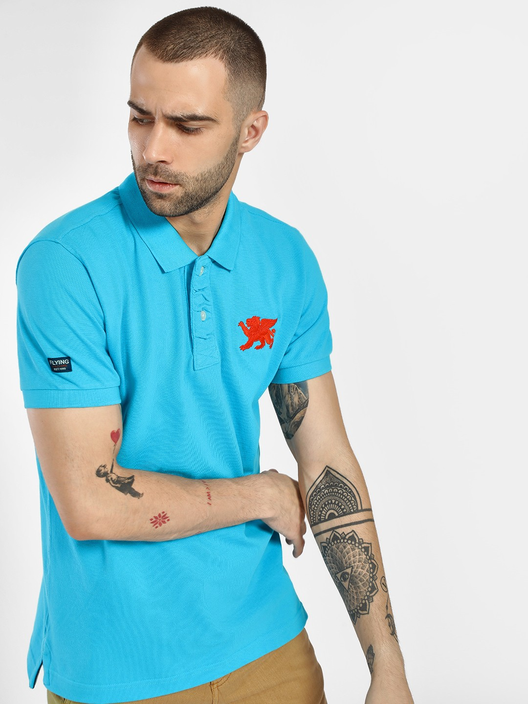 Flying Machine Blue Pique Embroidered Patch Polo Shirt 1