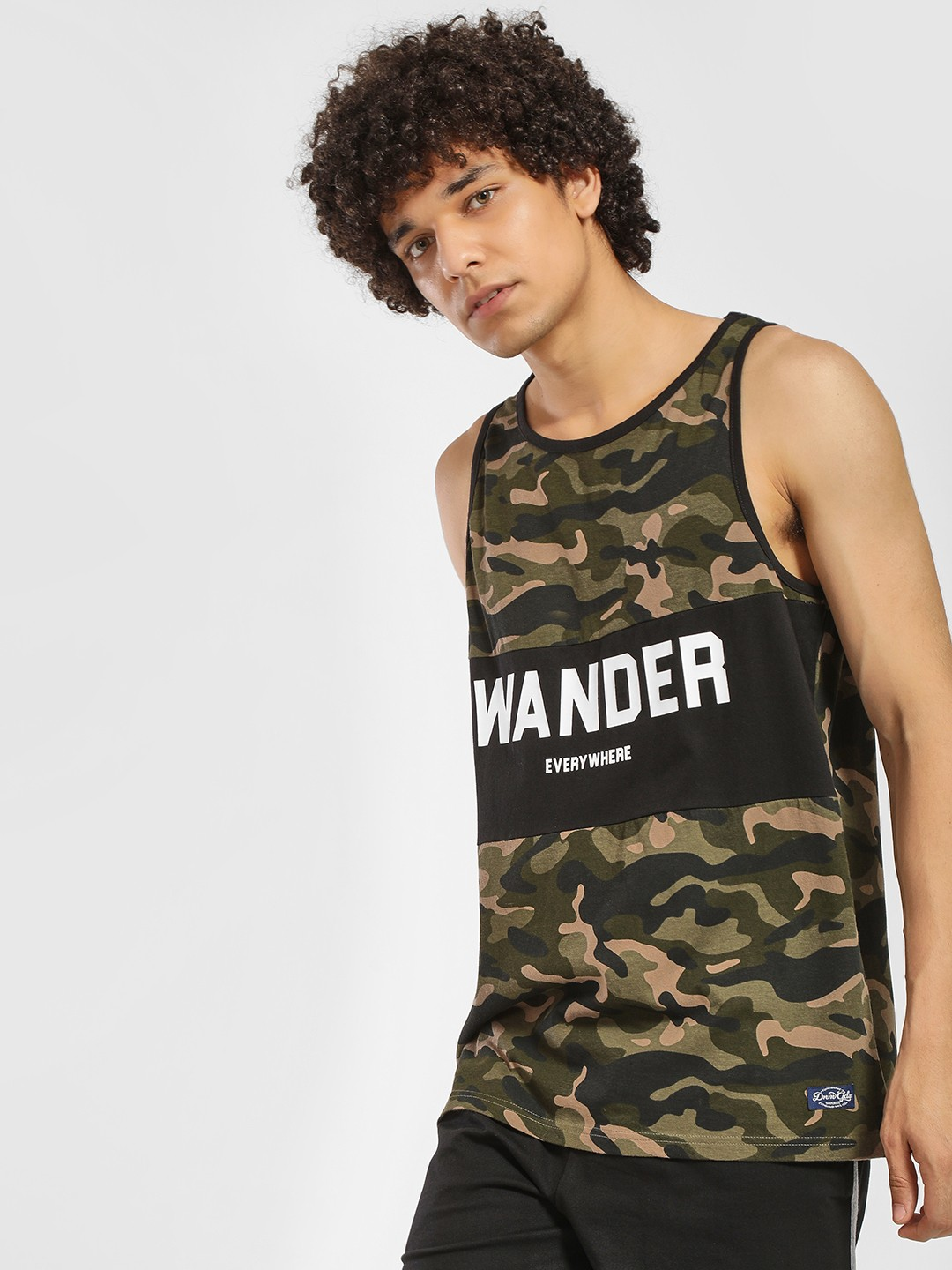 Flying Machine Green Cut & Sew Camo Slogan Print Vest 1