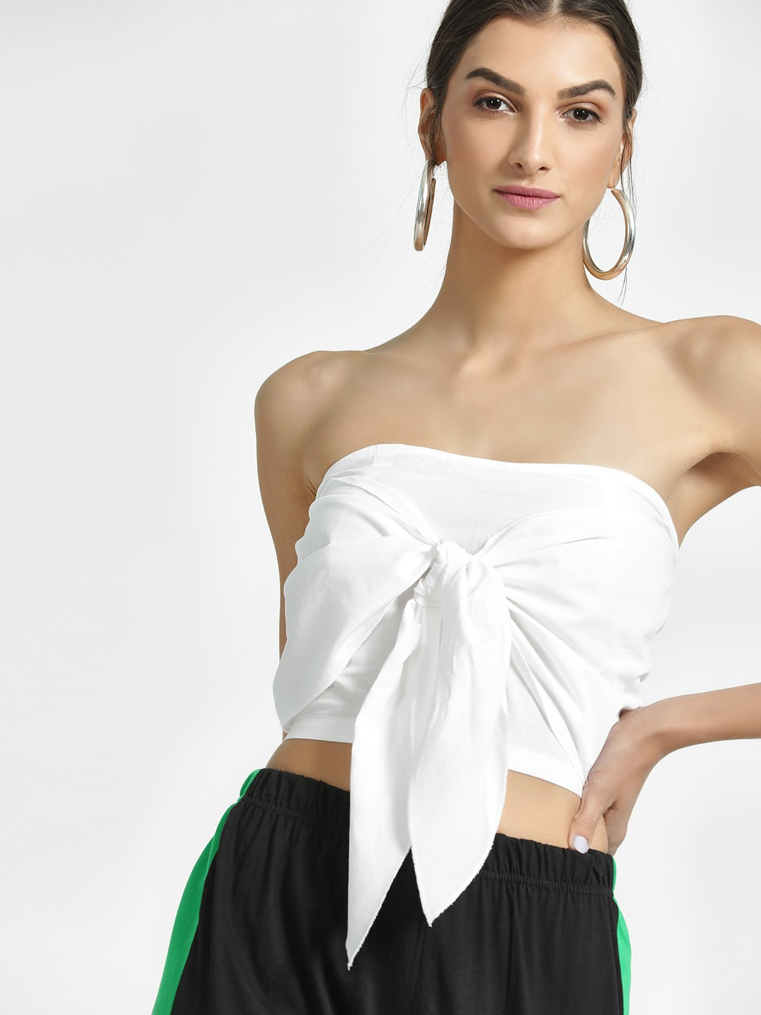 Ri-Dress White Smocked Front Tie-Knot Crop Top 1