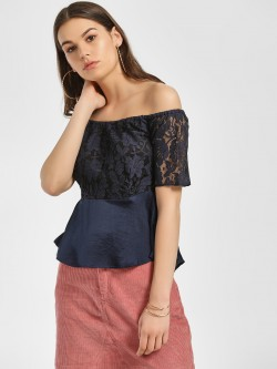 ISU Lace Off Shoulder Peplum Top