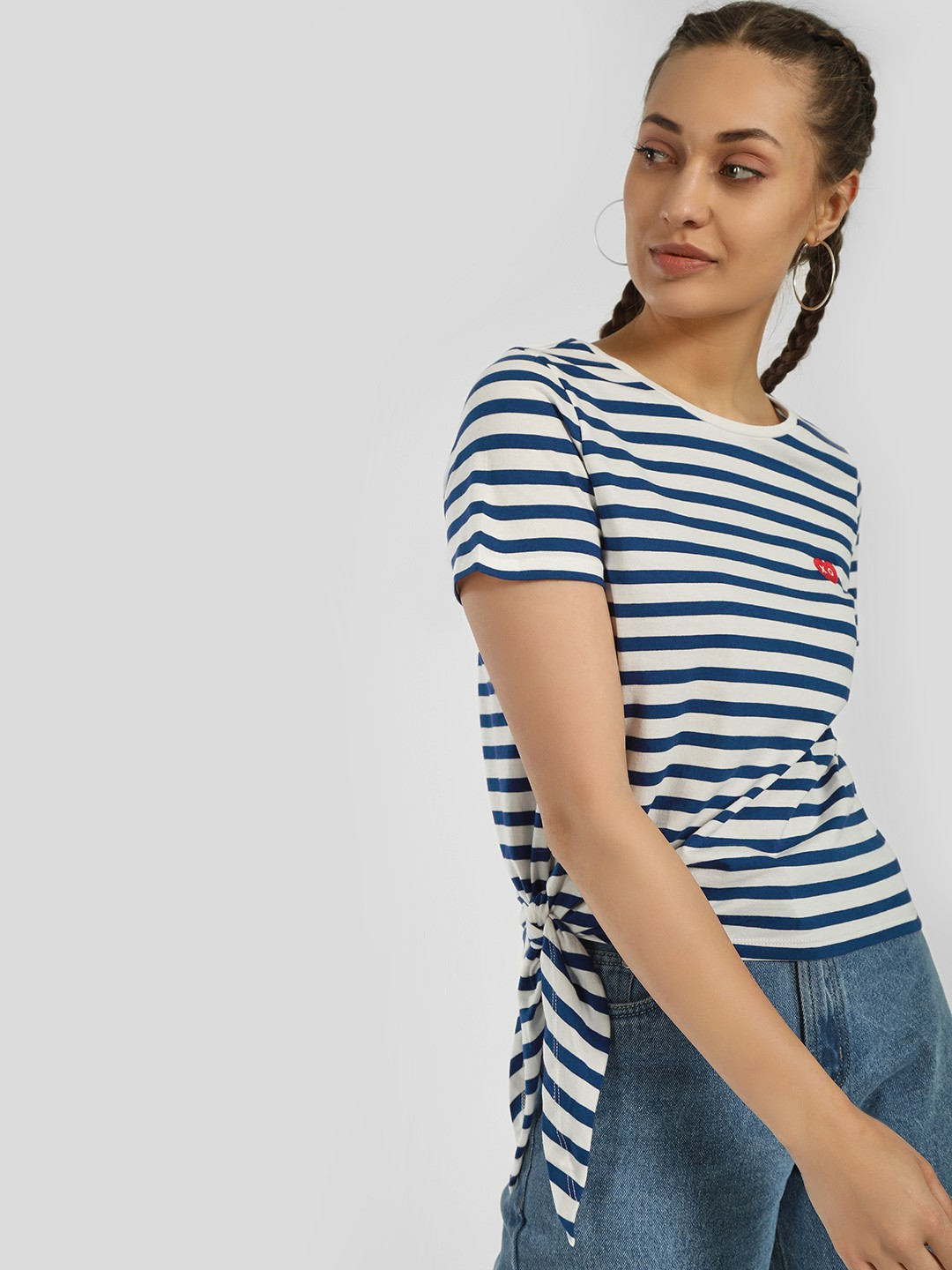 Only White Horizontal Stripe Tie-Knot T-Shirt 1