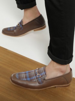 KOOVS Check Panel Horsebit Loafers