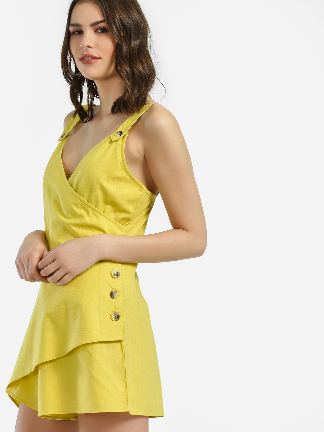 KOOVS Yellow Horn Button Wrap Detail Playsuit 1