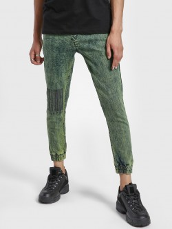 K Denim KOOVS Bleach Wash Slim Denim Joggers