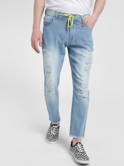K Denim KOOVS Extreme Distressed Washed Slim Jeans