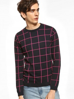 KOOVS Grid Check Knitted Pullover