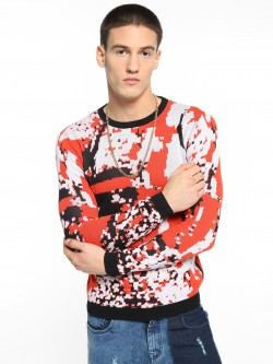 KOOVS Knitted Abstract Camo Pullover