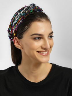 JAWBREAKER Rainbow Reversible Sequinned Twisted Headband
