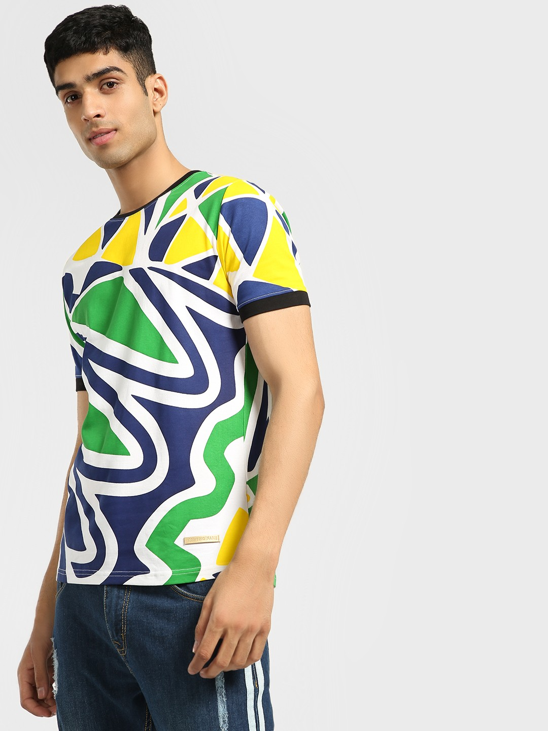 Fighting Fame Green Colour Block Abstract Print T-Shirt 1