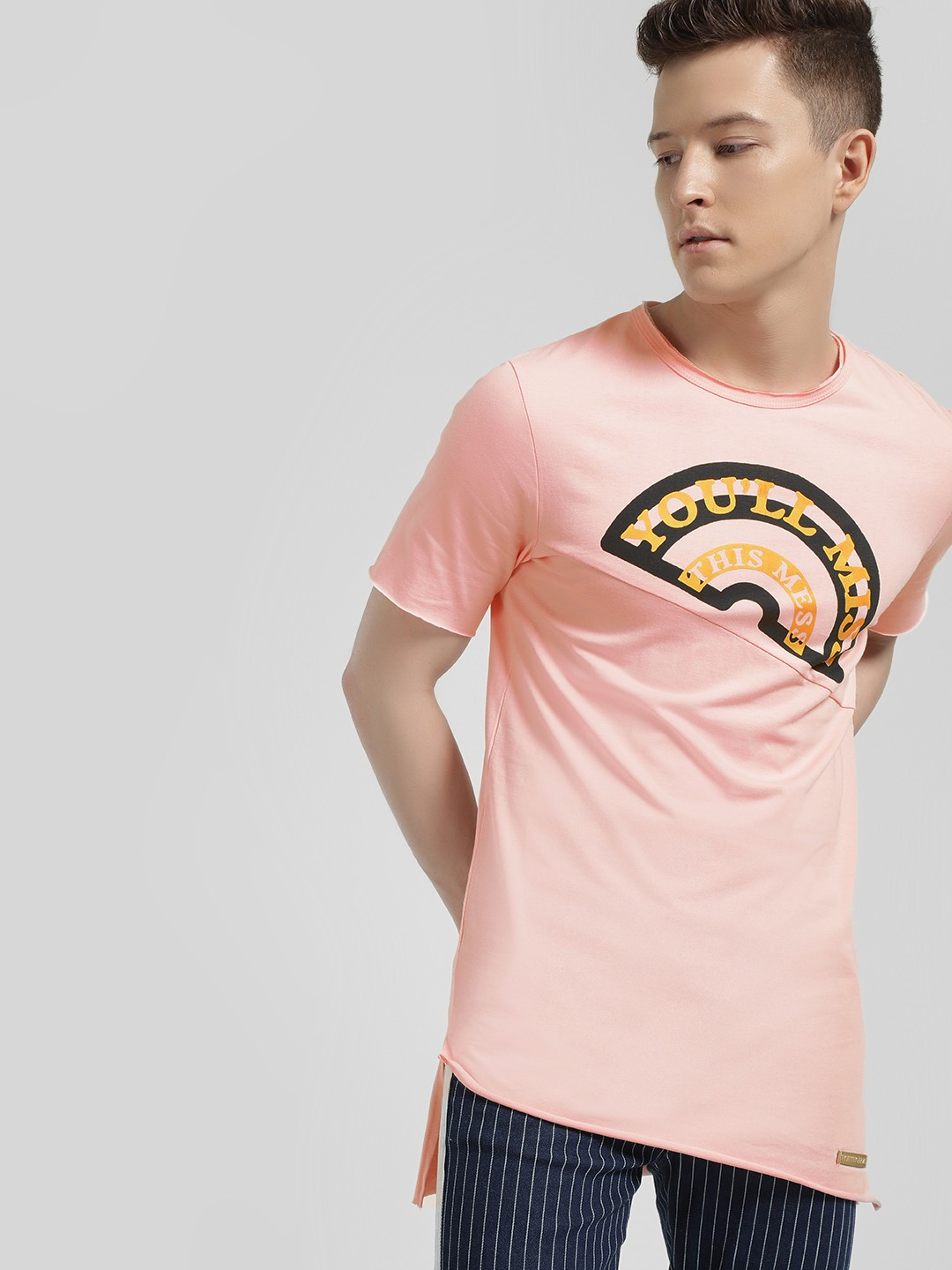 Fighting Fame Pink Slogan Print High-Low Hem T-Shirt 1