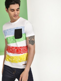 Fighting Fame Floral Colour Block Print T-Shirt