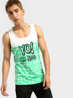 Fighting Fame Colour Block Text Print Vest