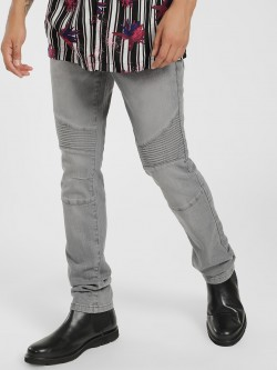 Lee Cooper Light Wash Biker Panel Skinny Jeans