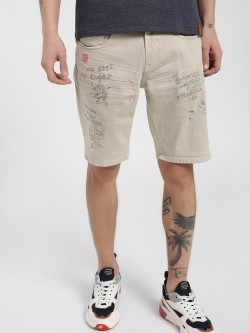 Lee Cooper Slogan Print Light Distressed Shorts
