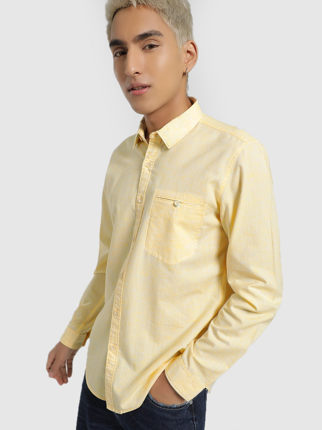 Lee Cooper Yellow Woven Casual Shirt 1