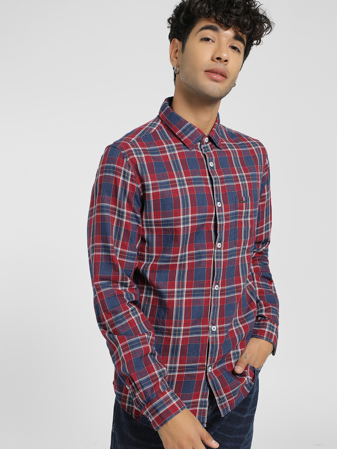 Lee Cooper Red Multi Check Casual Shirt 1