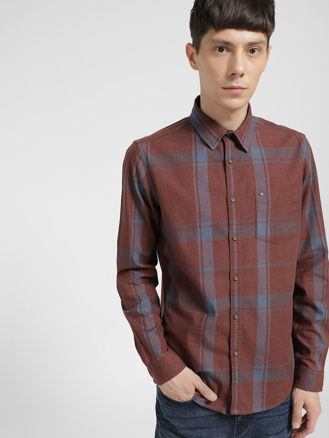 Lee Cooper Rust Woven Multi-Check Shirt 1