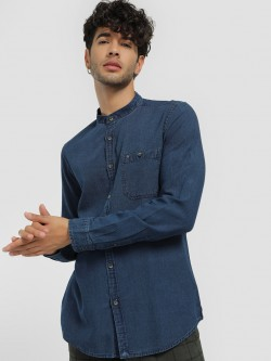 Lee Cooper Dark Wash Grandad Denim Shirt