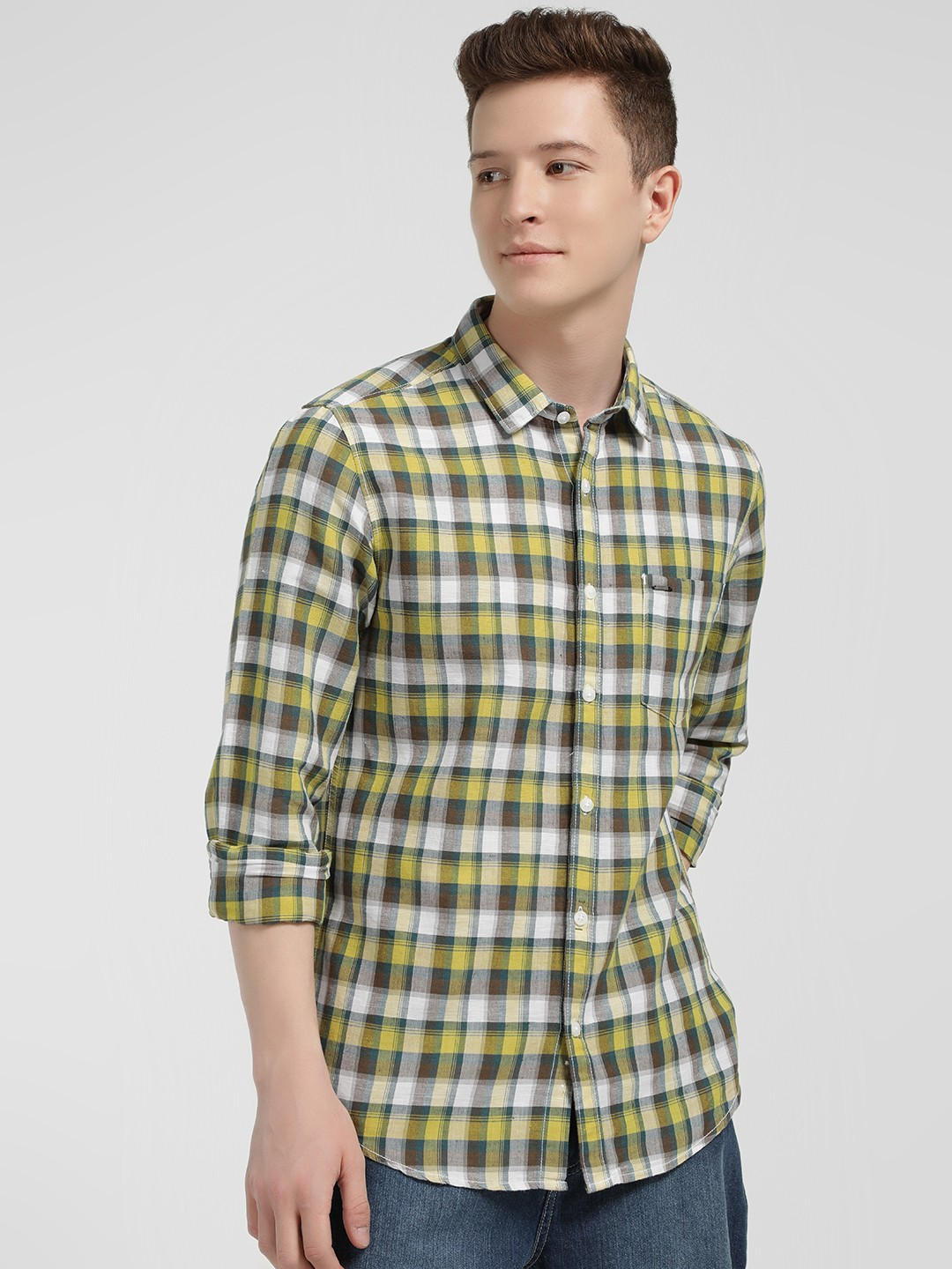 Lee Cooper Yellow Multi Check Casual Shirt 1