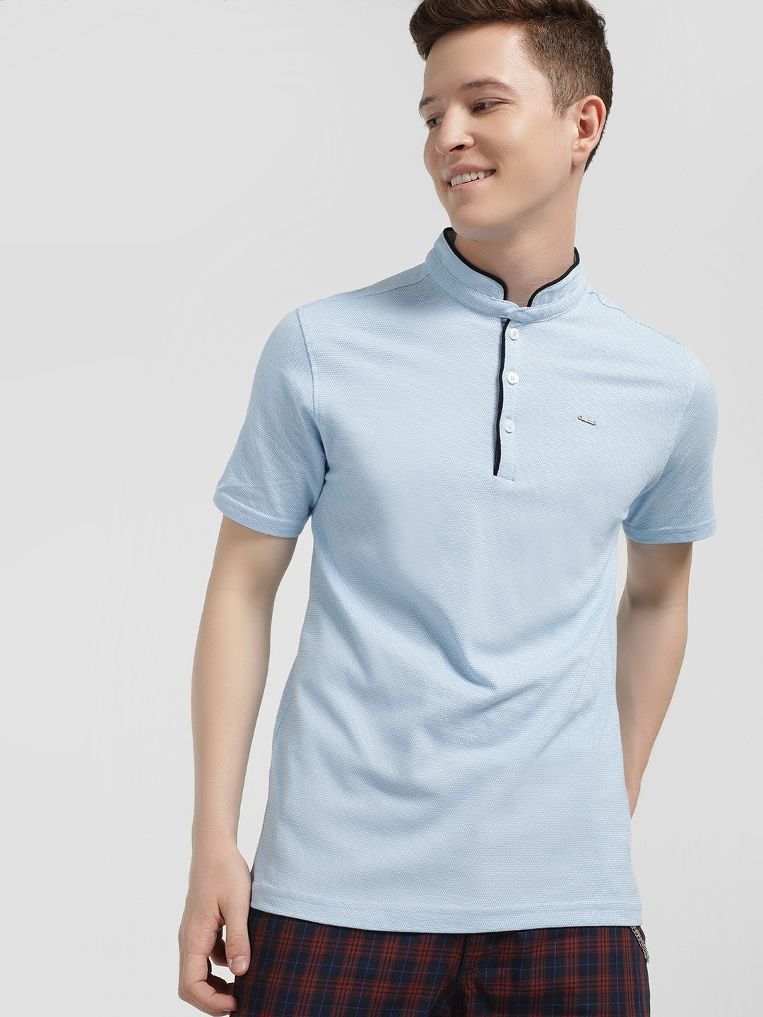 Lee Cooper Blue Knitted Polo Shirt 1
