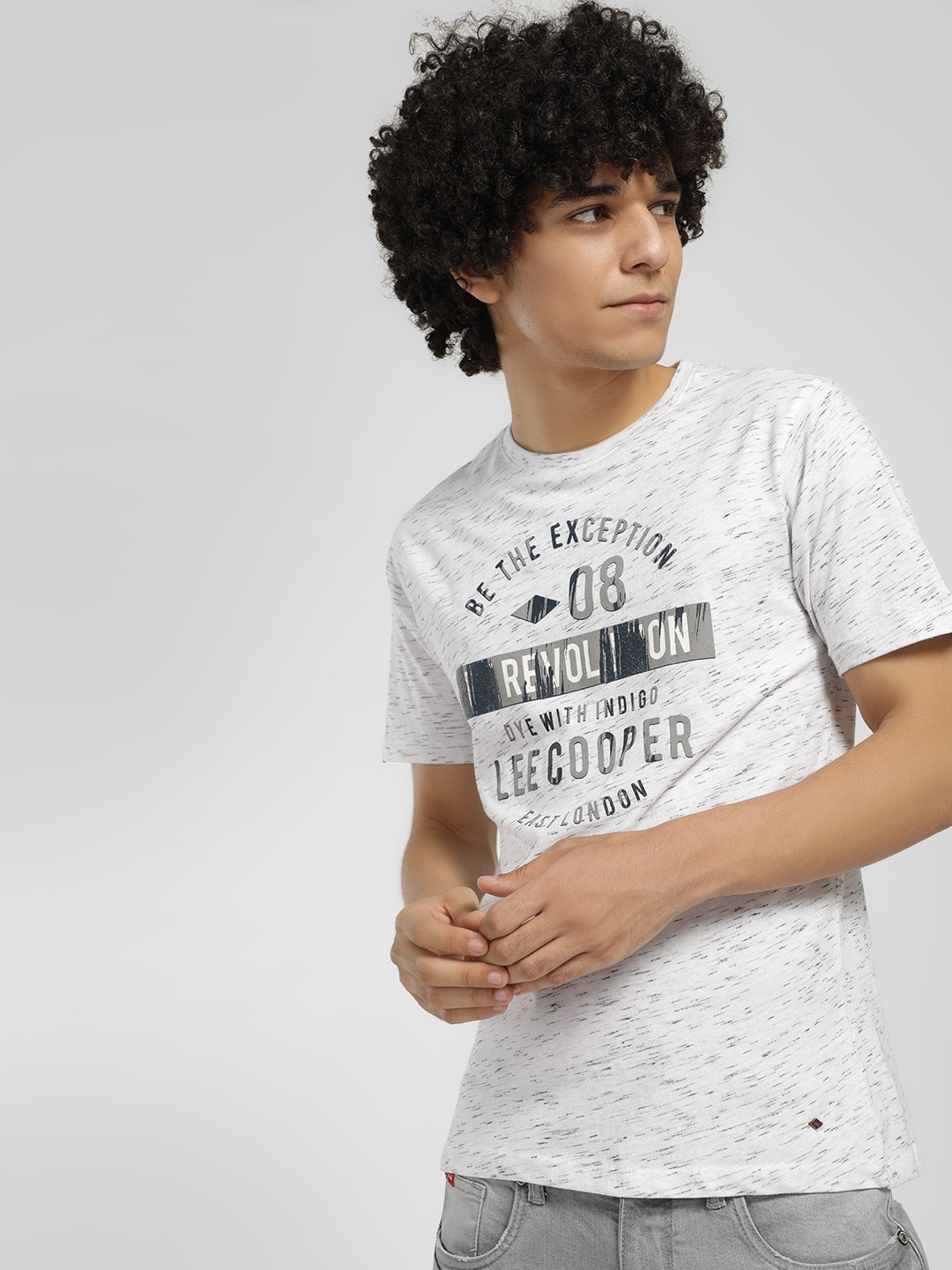 Lee Cooper Off White Slogan Placement Print T-Shirt 1