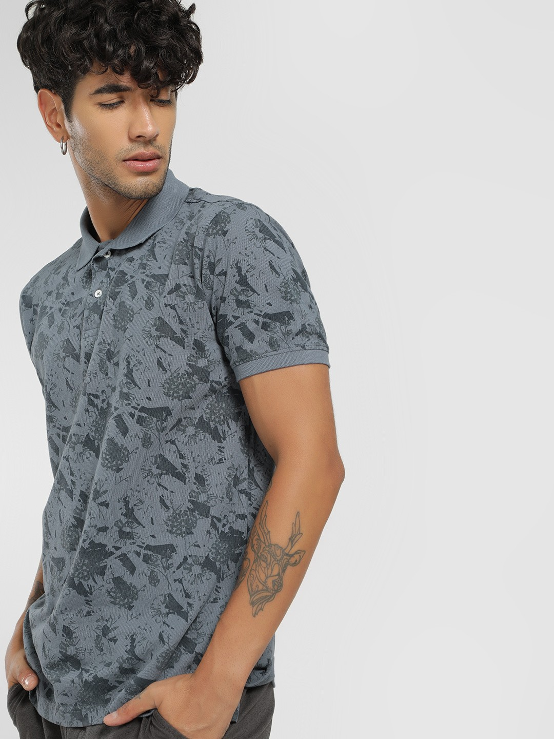 Lee Cooper Grey Floral Print Polo Shirt 1