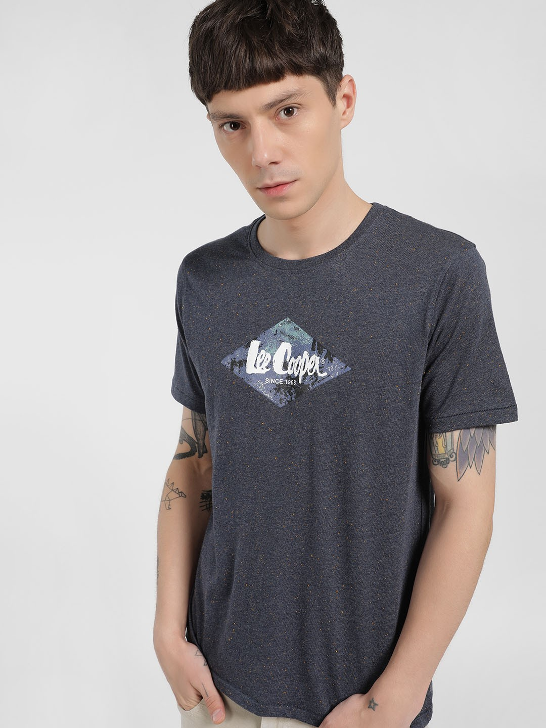 Lee Cooper Blue Melange Placement Print T-Shirt 1