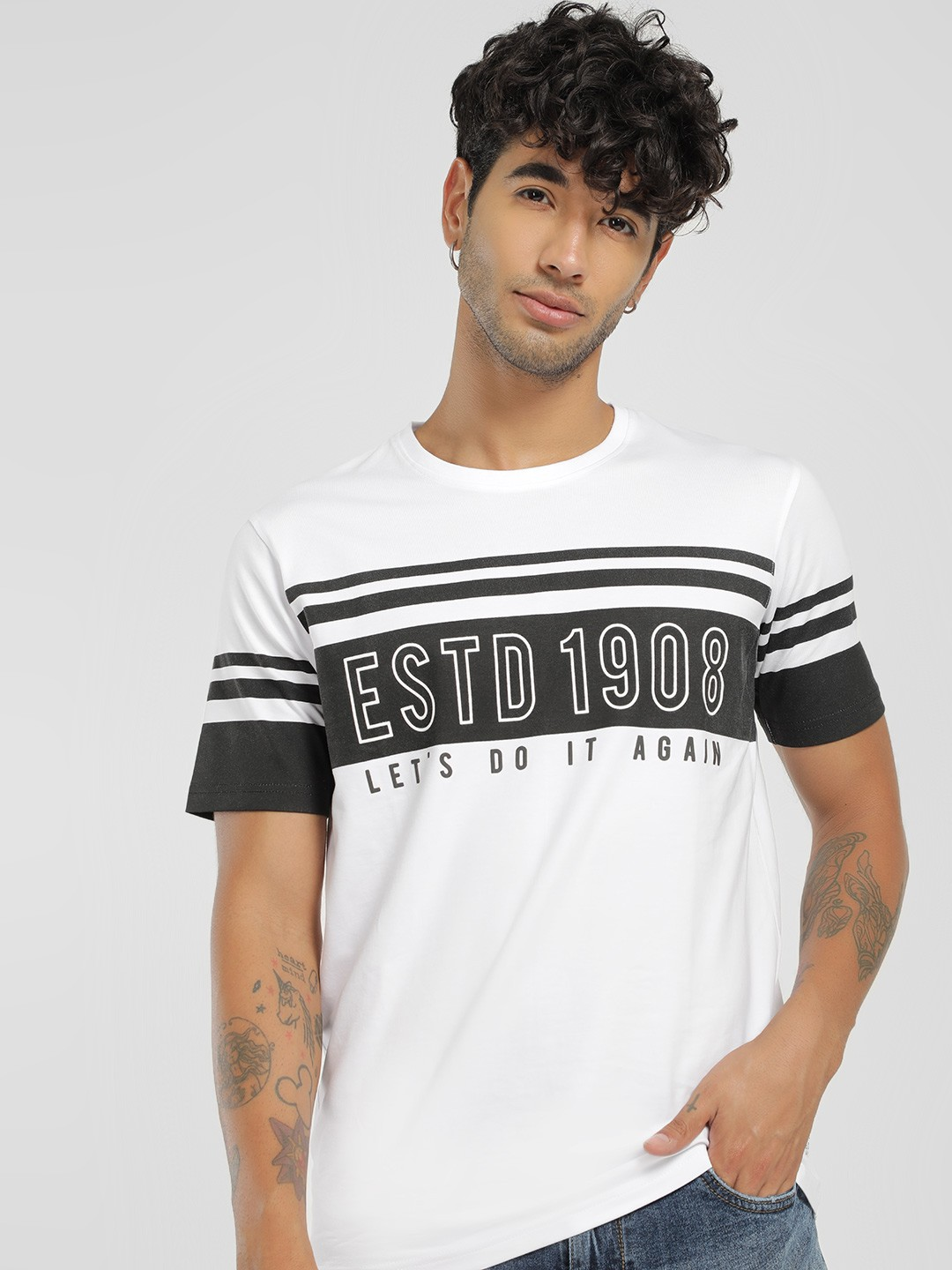 Lee Cooper White Slogan Placement Print T-Shirt 1