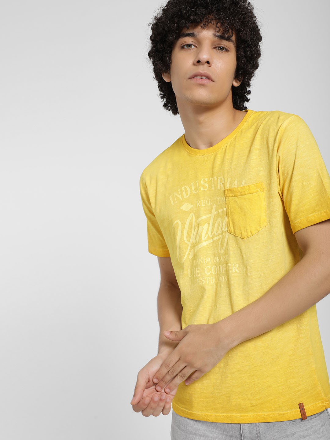 Lee Cooper Yellow Ombre Placement Print T-Shirt 1