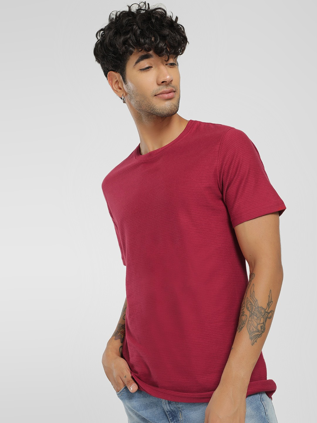 Lee Cooper Red Woven Stripe Crew Neck T-Shirt 1