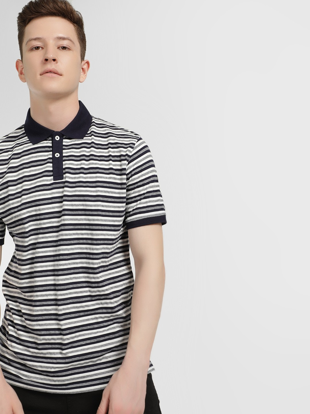 Lee Cooper Blue Woven Striped Polo Shirt 1