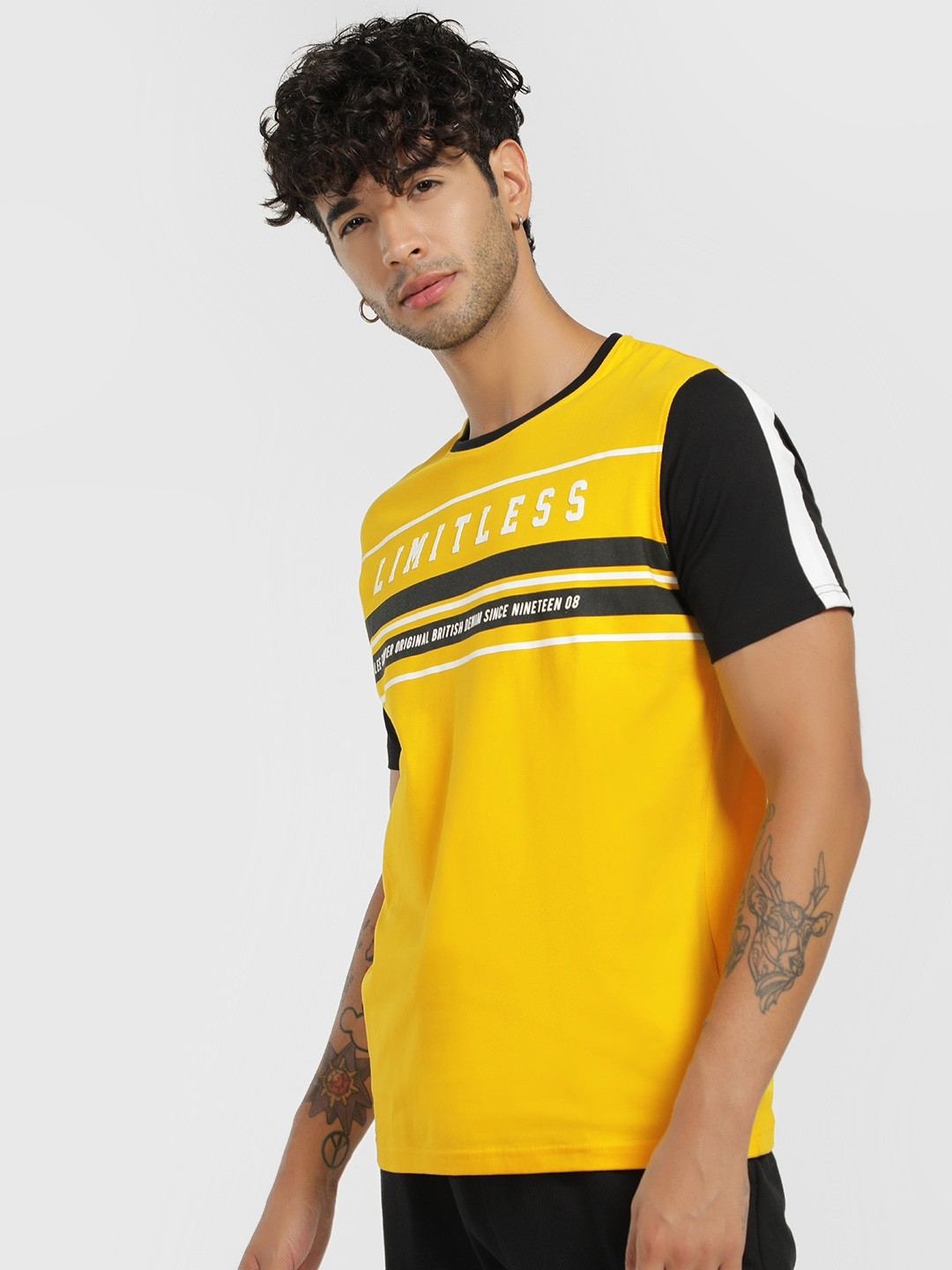 Lee Cooper Yellow Round Neck Slogan Patched T-Shirt 1