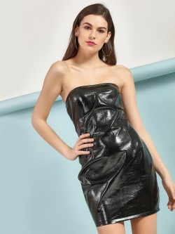 Lasula PU Leather Bandeau Dress