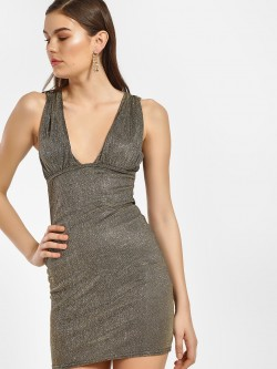 Lasula Shimmer Plunge Neck Bodycon Dress