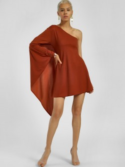 Lasula Overlay Cape Skater Dress