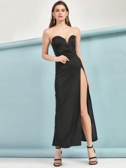 Lasula Side Slit Maxi Bandeau Dress
