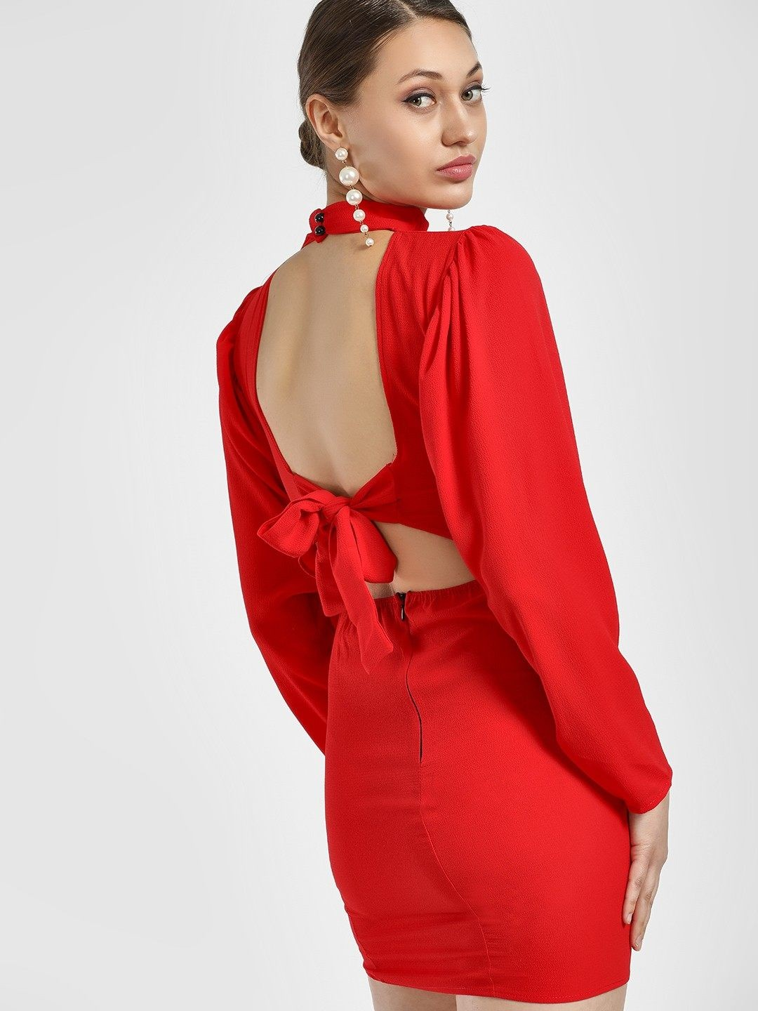 Lasula Red Back Cut Out Bodycon Dress 1
