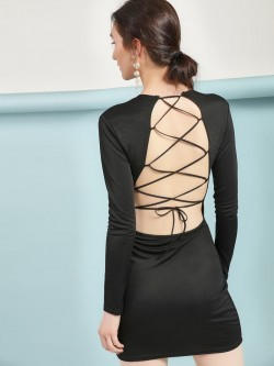 Lasula Multi-Cross Back Bodycon Dress