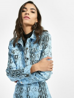 Miss Toxic Snake Print Crop Jacket