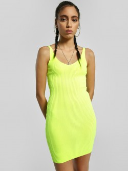 Miss Toxic Ribbed V-Neck Bodycon Dress