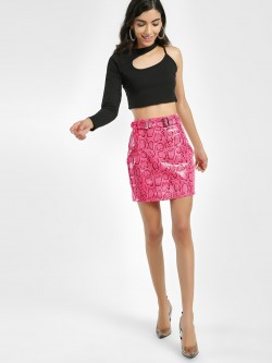 Miss Toxic Snake Print Belted High Waist Skirt