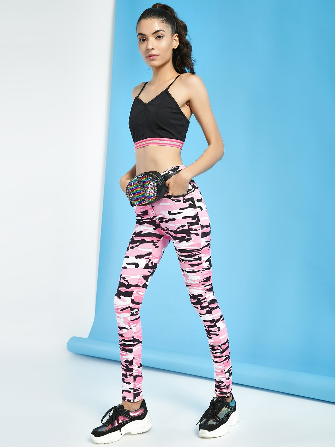 Miss Toxic Pink Camo Print Cropped Jeggings 1