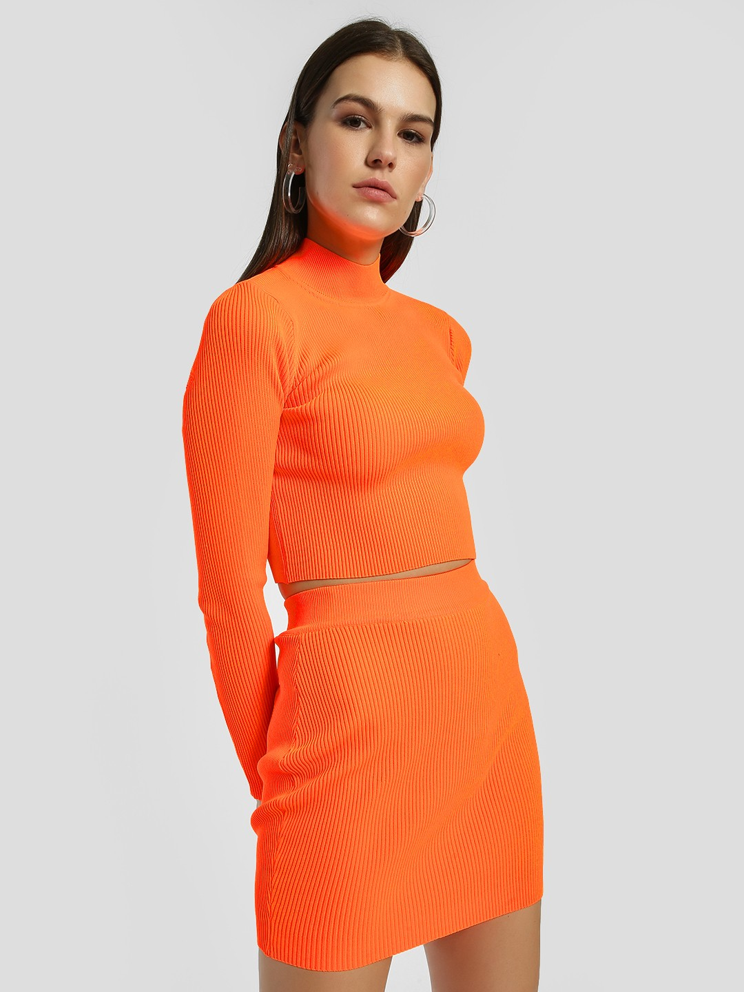 Miss Toxic Orange Ribbed Turtleneck Crop Top 1