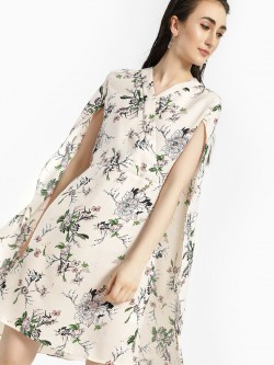 Oliv Floral Print Cape Shift Dress