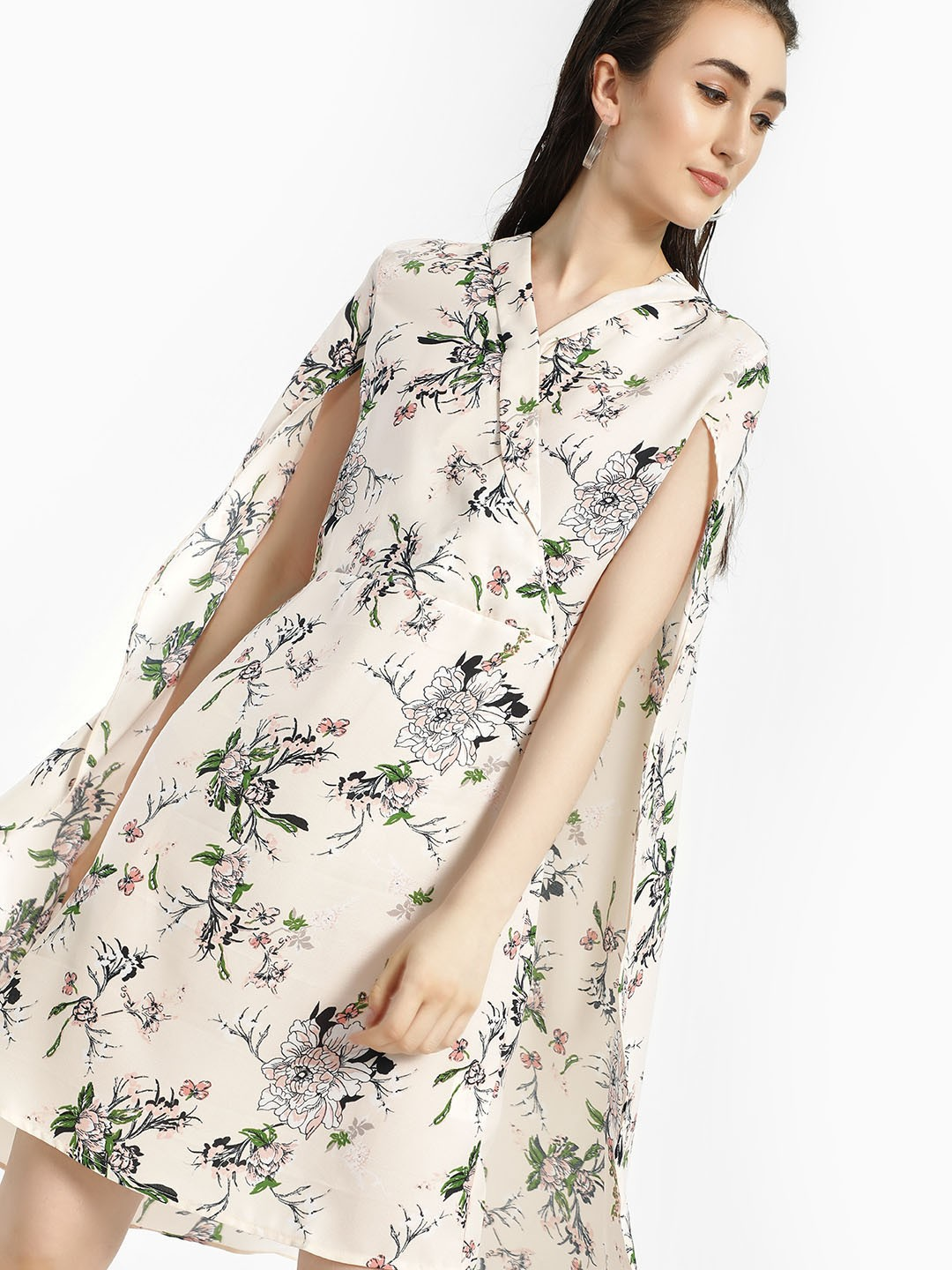 Oliv Multi Floral Print Cape Shift Dress 1