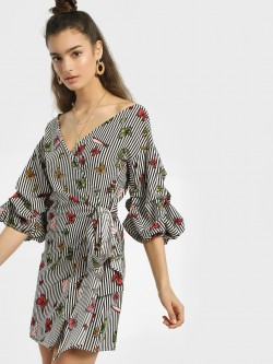 JJ's Fairyland Striped & Printed Wrap Shift Dress