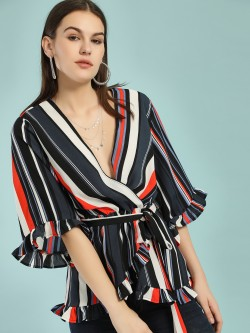 Ax Paris Colour Block Stripe Wrap Top